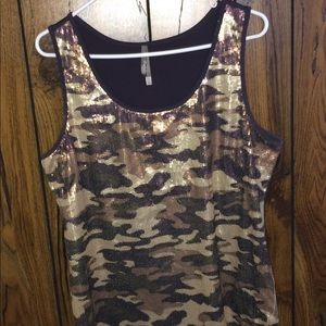 Charlotte Russe sequined tank top camo XL EUC!